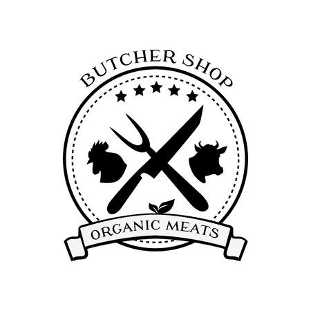 Butcher shop design elements, labels and badges in vintage style.