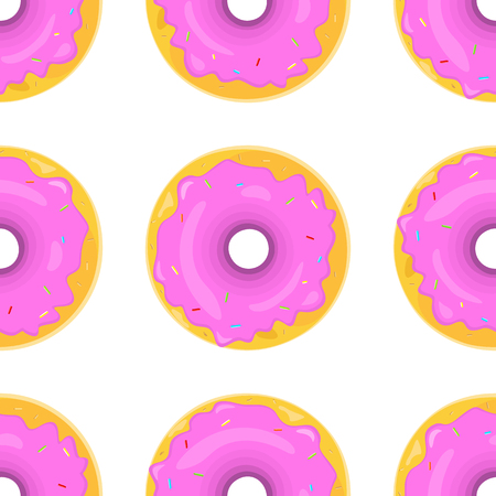 glazing: Donut seamless background texture pattern. Cute donuts with glazing.