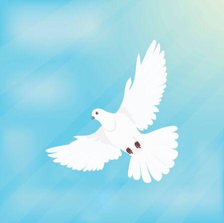 White dove soars in space design flat.