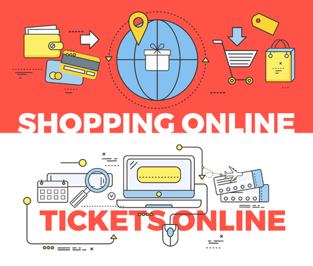 purchase order: Shopping and tickets online concept. Shopping online, internet technology, business web shopping, buy online, order purchase online, pay service shopping online, payment tickets online illustration