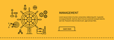 management: Icons for management, business tools in flat design. Poster banner on yellow. Management and marketing, lead and manage, effective management, leadership business, management icon, business management