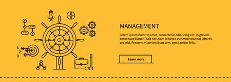 Pictogrammen voor management, business tools in flat design. Poster banner op geel. Management en marketing, lood en beheren, effectief management, leiderschap zaken, management pictogram, business management Vector Illustratie