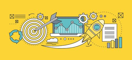 Concept search engine optimization. Analytic and analysis, development startup, diagram and statistic, management strategy, promotion project illustration. Set of thin, lines icons