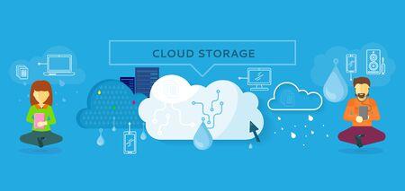 storage: Cloud storage design flat concept. Storage and cloud, cloud computing, cloud backup, online storage, data storage, data, network, internet web storage, connection clouds storage illustration