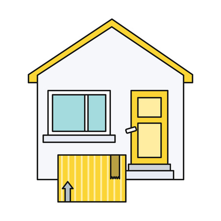 roof construction: Delivery box to home house design flat. Delivery and box, house and delivery icon, delivery service, package cartoon delivery business delivery, service delivery, carton box delivery illustration