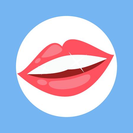 Sorriso con bianco disegno dente piatta. Dentale e sorriso, denti bianchi, sano dentale, bellezza e cura sorriso, la salute e denti puliti, sbiancamento sorriso umano, denti perfetti, sorriso bianco illustrazione dente Archivio Fotografico - 53341780