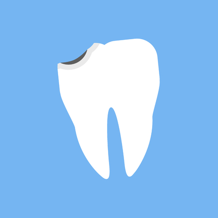 chipped: Broken white tooth design flat. Broken and dental, teeth and chipped tooth, bad teeth, cracked tooth, tooth and medicine oral, dent human, shape tooth, stomatology medical, crack tooth illustration