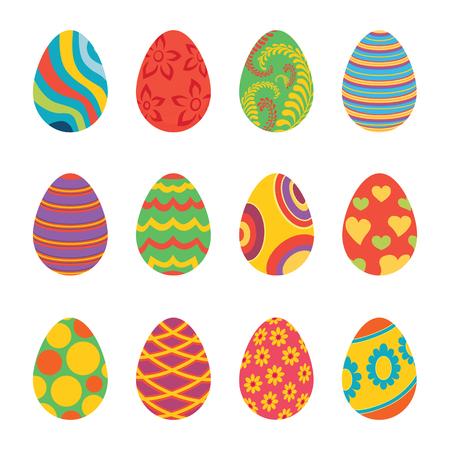 Set Of Easter Eggs Design Flat Easter And Chocolate Easter Eggs Magnificent Easter Eggs Decoration Design