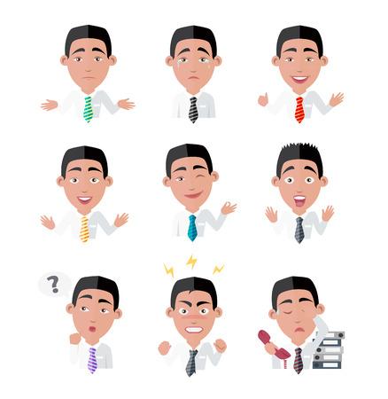 La emoción y el avatar. Variedad de emociones trabajador de oficina. persona de negocios, gente de dibujos animados, gerente de carácter, el éxito y enojado, expresión agotada, la depresión y la ilustración vectorial fuus