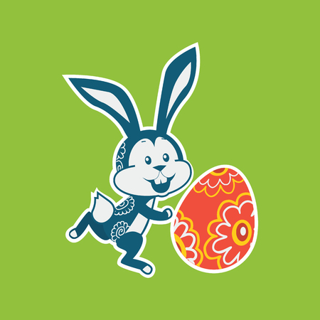 pascuas navideÑas: Easter rabbit icon design flat. Easter and easter bunny, rabbit and easter egg, egg and bunny, holiday easter and animal, hare easter, easter animal green, bunny easter with egg vector illustration