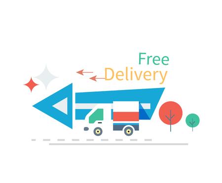 Rapide livraison gratuite notion icône du design plat. le transport du service d'affaires, fret et courrier gratuit, le transport et la distribution, courrier logistique, reçoivent l'enveloppe, d'envoyer et de temps. icônes de livraison gratuits