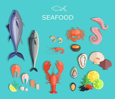 Mariscos escenografía peces planos y cangrejo. Pescados y mariscos, plato de mariscos, langostas y cangrejos, ostras comida, pescados y mariscos frescos, camarones y menú de marisco, animales pulpo, mariscos limón, ilustración de pescados y mariscos frescos