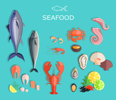 shrimp: Seafood set design flat fish and crab. Seafood fish, seafood platter, lobster and crab, food oyster, fresh seafood, shrimp and menu seafood, octopus animal, shellfish lemon, fresh seafood illustration
