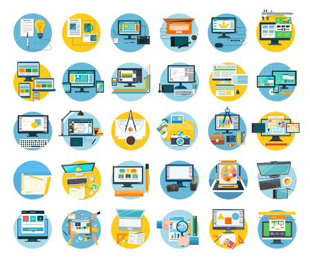 Conjunto de icono del diseño web concepto plana. Web y diseño, icono y el sitio web, diseño de sitios web, la plantilla web, diseñador de páginas web, elementos de diseño web, diseño de desarrollo de la tecnología. ilustración de diseño digital