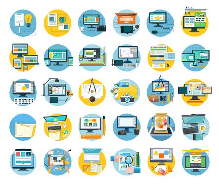Ensemble de web icon concept design plat. Web et la conception, l'icône et le site web, conception de site Web, modèle web, web designer, des éléments de conception web, conception de développement technologique. conception numérique illustration