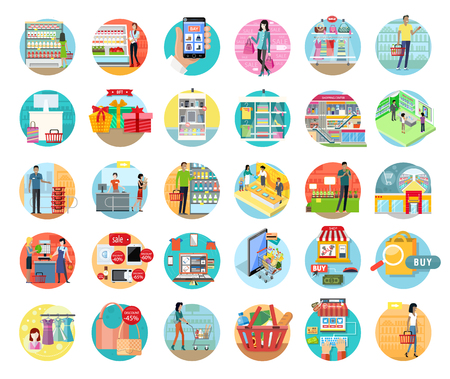 La gente in supermercato interior design. Persone dello shopping, del supermercato, addetti al marketing, negozio mercato interno, dei clienti nel centro commerciale, vendita al dettaglio illustrazione store Vettoriali