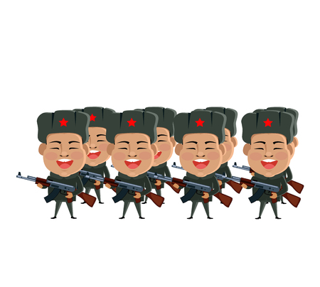 Army soldiers silhouette. Illustration