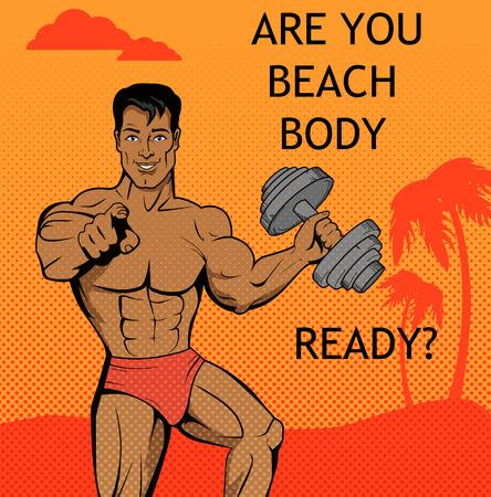 chico de fitness. cuerpo de playa listo el diseño. Gimnasio y un niño, el cuerpo y la playa, fitness joven de sexo masculino, verano atractivo modelo muchacho, individuo la aptitud del atleta, hermoso cuerpo de fitness ilustración playa artificial Ilustración de vector