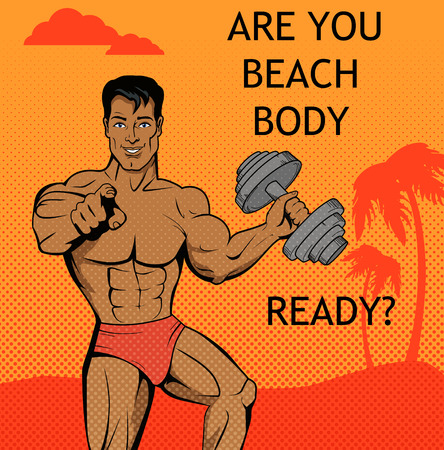 muscle boy: Fitness boy. Beach body ready design. Fitness and boy, body and beach, male young fitness man, summer attractive model boy, athlete fitness guy, beautiful beach body fitness man illustration Illustration