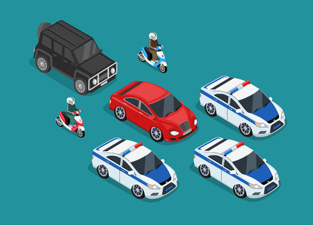 Isometric police motorcade car flat design. 3D police guard, motorcade escort, policeman on motorcycle, 3d cortege police car police protection, motorbike police patrol, transport famous safeguard