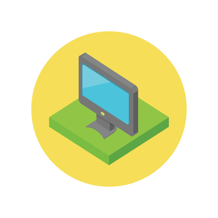 flat panel monitor: Isometric computer monitor isolated. Illustration