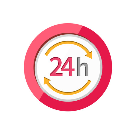 24 hr: 24h Customer support service signs. Illustration