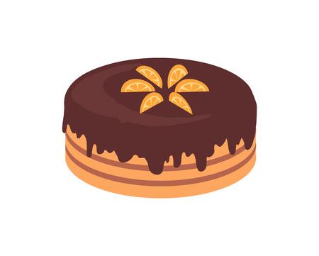 rebanada de pastel: Pastel de chocolate aislado diseño plano. Vectores
