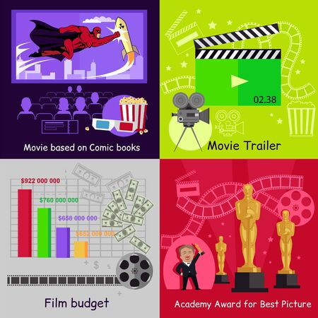 best book: Cinema set banners film movie design. Best picture, award academy, trailer and budget, book comic based, movie cinema, film video, art production cinema, banner production movie illustration Illustration