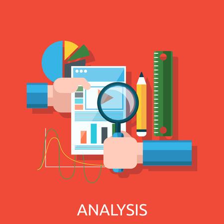 Analisi delle azioni infografica. Analytics e analisi icona, analizzare e analisi di business, l'analisi dei dati della ricerca, strategia aziendale, piano di web, idea di marketing SEO. Mani con grafico, grafici