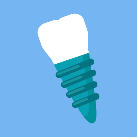 dental implant: Dental implant design flat icon. Illustration