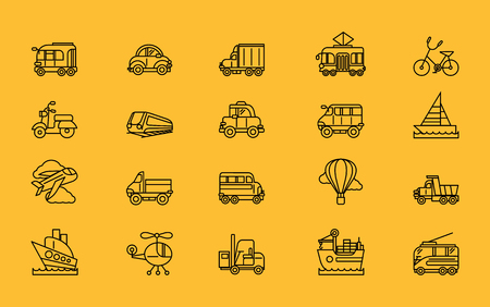 automobile: Different kinds of transport airplane bicycle train automobile, balloon ship sailboat black on yellow. For web mobile applications Illustration