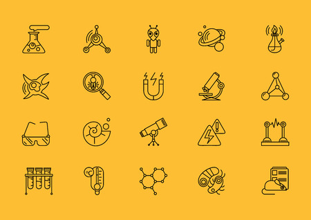 chemically: Set of science thin, lines, outline, strokes icons.