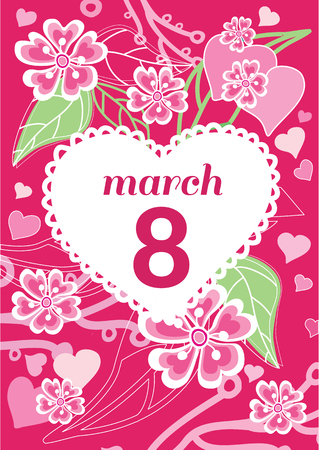 womans day: Greeting card 8 march woman day. 8 march, greeting card, womans day, flowers and international womens day, spring holiday, march 8 day, celebration woman 8 march day, postcard floral illustration Illustration