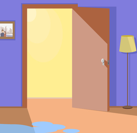 Light from open door interior design. Door open welcome, doorway and interior home, entrance door to room, indoor way, enter door open, entering door empty, water pool, wet floor illustration