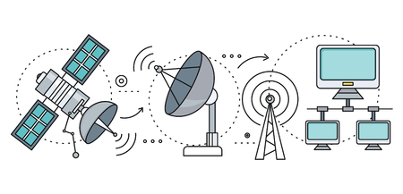 providers: Satellite internet global network providers. thin, lines icons Illustration