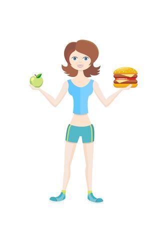 niña comiendo: la dieta del deportista estilo de vida saludable. Vectores