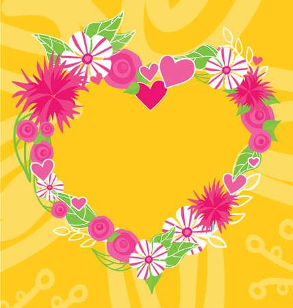 insertion: Flower heart frame text insertion. Frame and flowers, flower border, floral frame, photo frame, flower floral, heart flower frame, love card, border heart flower frame, form heart frame illustration