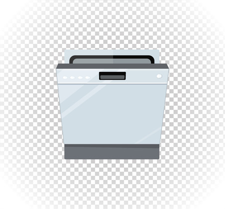 dish washing: Sale of household appliances dishwasher machine. Electronic device dishwasher machine. Sale badge label . Home appliances flat style. Dishwasher machine, dish, washing dishes, dishwasher isolated Illustration