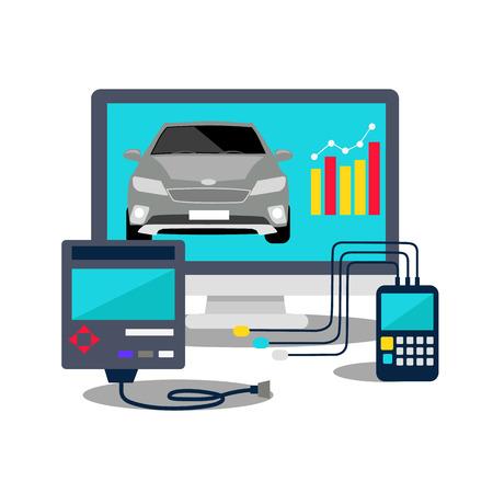 auto service: Auto mechanic service flat icons of maintenance car repair. Auto service concept. Car service diagnostics. Computers are used to communicate with auto electronics