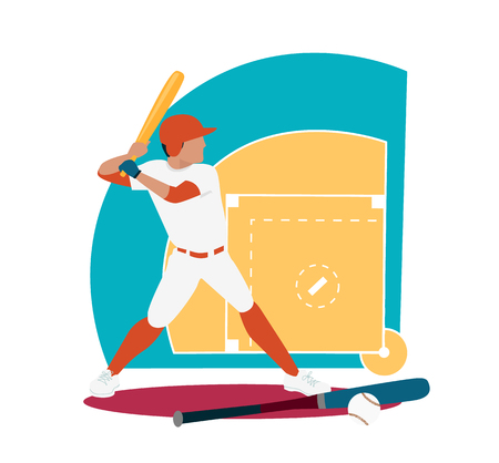 team game: Baseball sport concept icon flat design. Ball and competition, game american, bat play, athletic training, championship player, tournament team, athlete illustration. Baseball sport. Baseball game