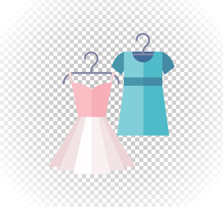 fashion dress: Sale of pinup cute woman dresses . Sale badge label . Lady dress in flat style. Clothes, fashion, dress isolated, woman dress, fashion dress, skirt