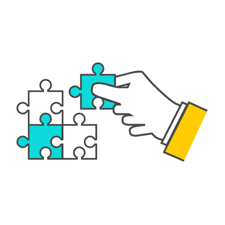 construct: Creating or building own business concept. Puzzle piece, construction and development, build construct, idea and success, solution and growth, challenge and jigsaw illustration