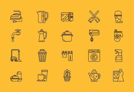 home equipment: Set of thin, lines, outline, strokes icons. Cooking tools, kitchenware equipment, food preparation elements home appliance microwave iron, kettle, blender. Web mobile applications. Black on yellow