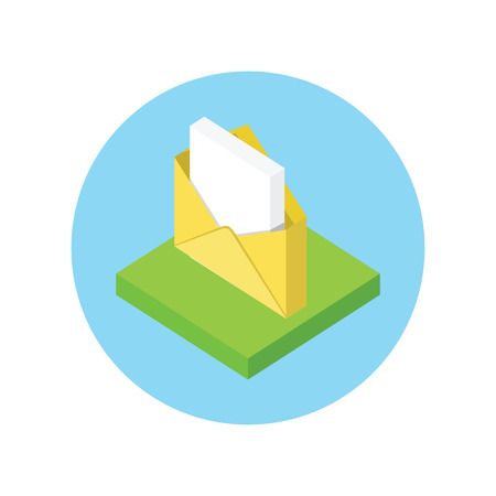close icon: Isometric envelope yellow open design flat. 3D envelope and letter, envelope icon, mail and open envelope, envelope template, invitation envelope, open or close envelope illustration