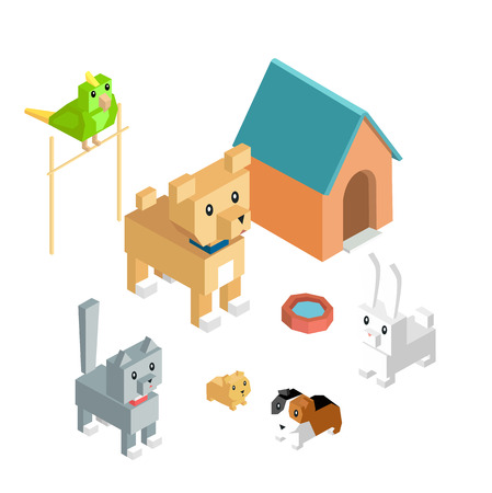 group of pets: Pets set icon isometric 3d design. Dog and cat, animal group of pets, puppy animal, kitten character, nature domestic pets, fauna hamster parrot and rabbit, guinea pig illustration Illustration