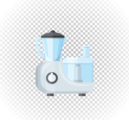 Sale of household appliances. Electronic device food processor. Food blender in flat style. Blender, food processing, juicer, food processor isolated, food blender Illustration