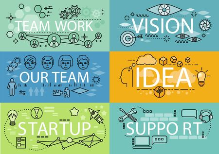 business support: Banners set idea startup teamwork. Team work and vision, our team and support, startup business, idea and strategy marketing and technology management, growth support idea illustration