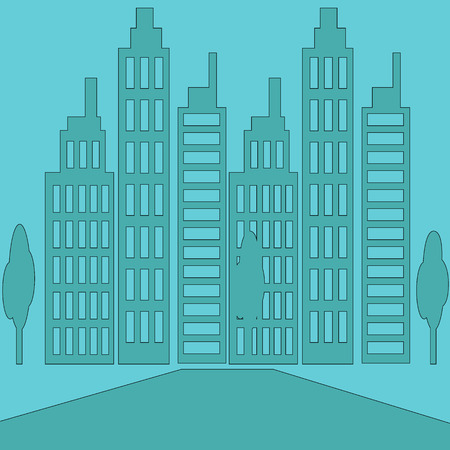 office building: Skyscrapers buildings. Tower and office building with trees, city architecture building, house business apartment building office thin line illustration