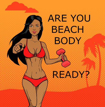 female athlete: Fitness girl. Beach body ready design. Body and beach, female young fitness woman, summer attractive model, athlete fitness female, beach body illustration
