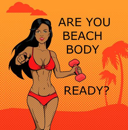cuerpo femenino: Muchacha de la aptitud. cuerpo de playa listo el diseño. Cuerpo y la playa, mujer joven fitness femenino, modelo atractivo del verano, atleta de fitness femenino, ilustración cuerpo de playa Vectores